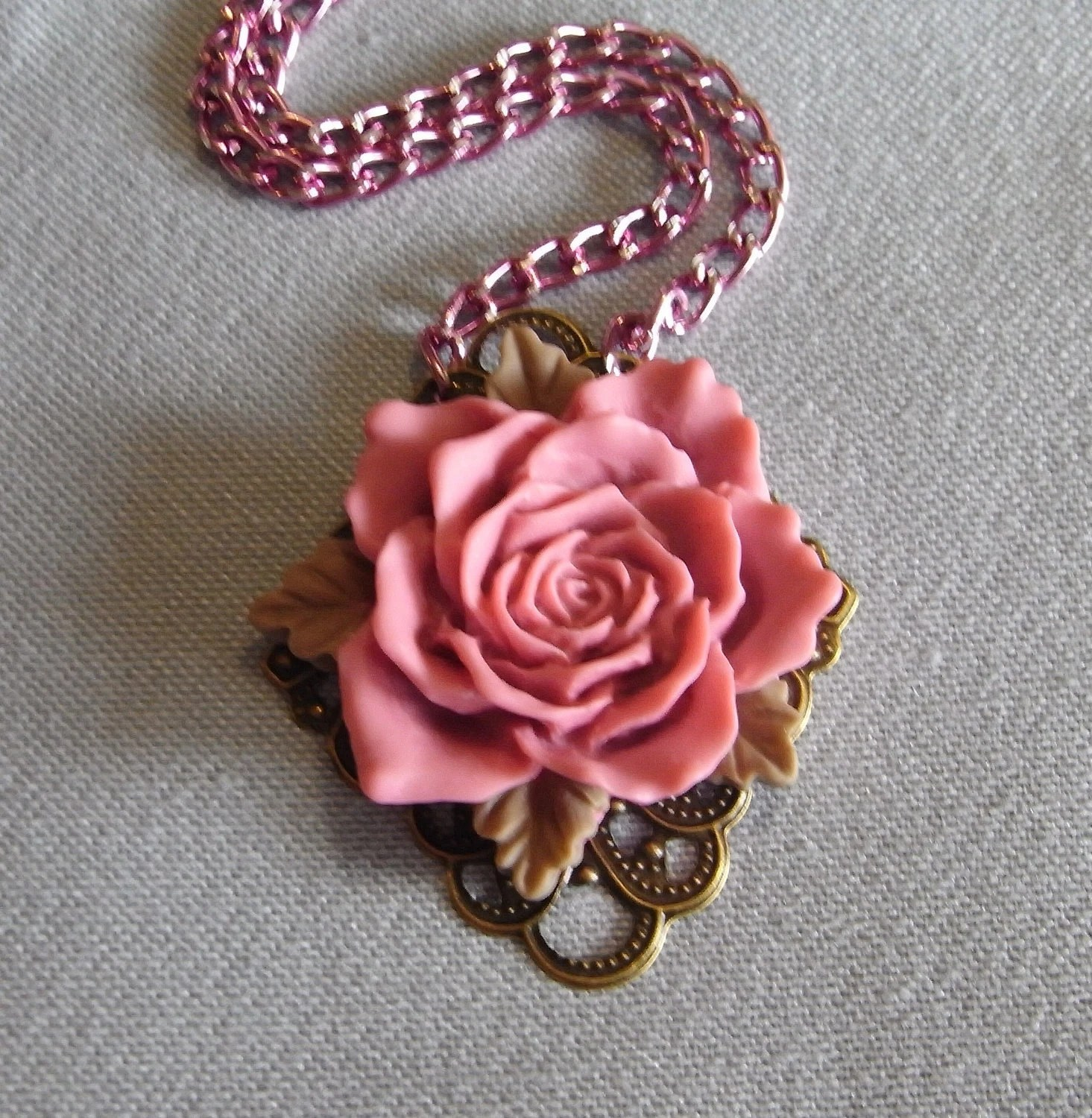 Full Blown Rose filigree necklace on pink chain, handmade