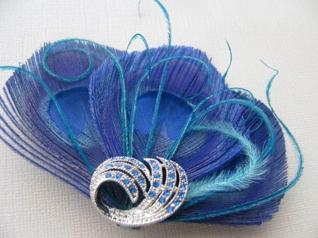 Sapphire Blue Tri Peacock Feather Hair Clip with Crystal Accent