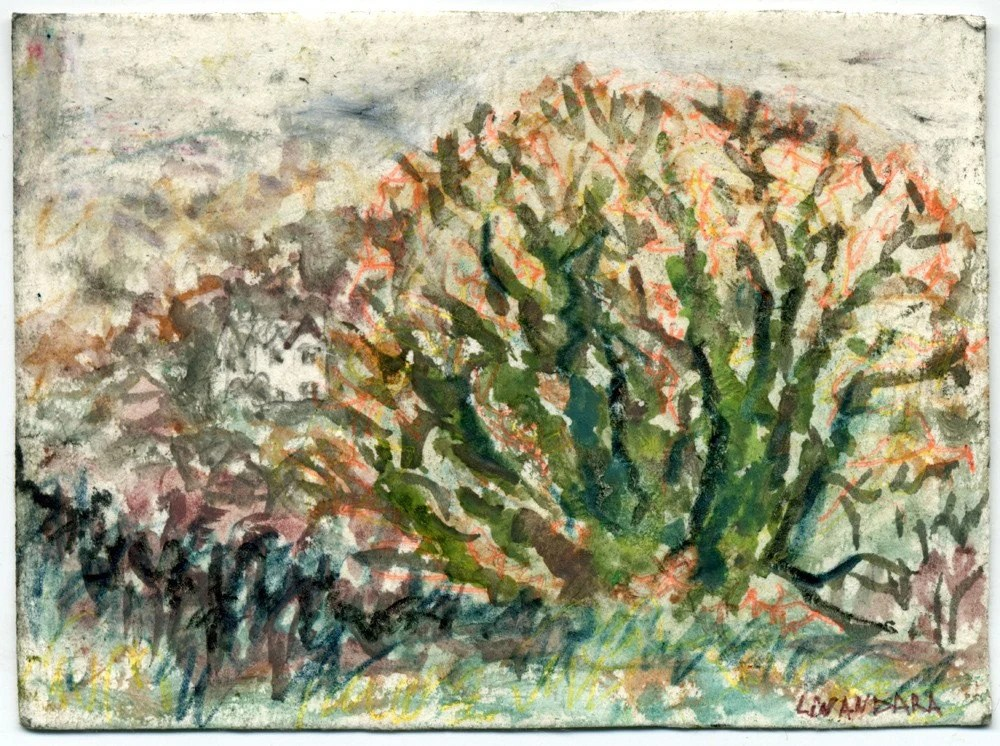 An Oak on Trehafren Hill. Original ACEO Miniature Card from Newtown, Powys Wales