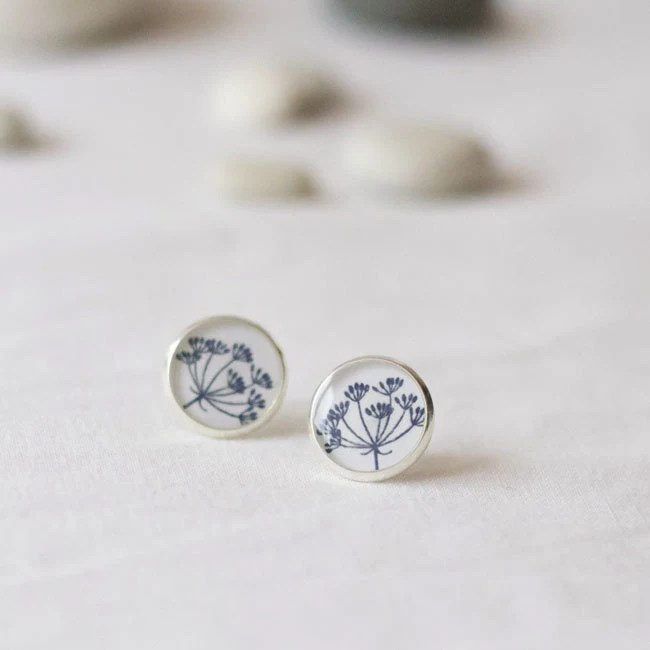 Earrings with dill floral earrings floral jewelry