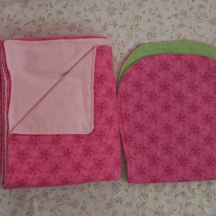 ON SALE  pink stars flannel blanket and burp cloth set