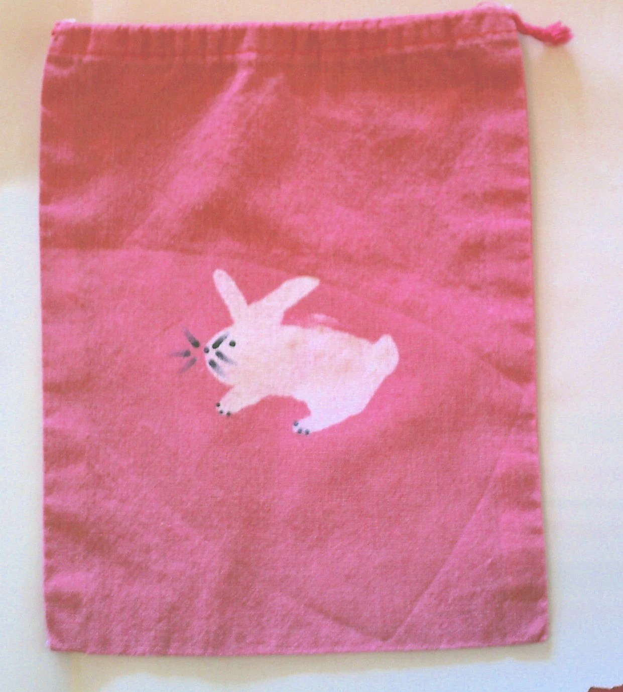 FREE SHIPPING batik BUNNY mini project or notion drawstring bag NO TEXT