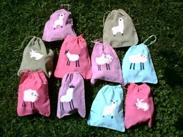 TEN assorted batiked fiber animal 8x10 drawstring BAGLETS super for knitters spinners friends gifts parties