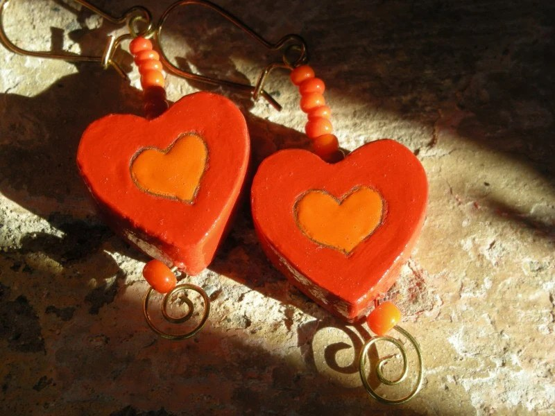 FLAME Handpainted Wood Art Earrings