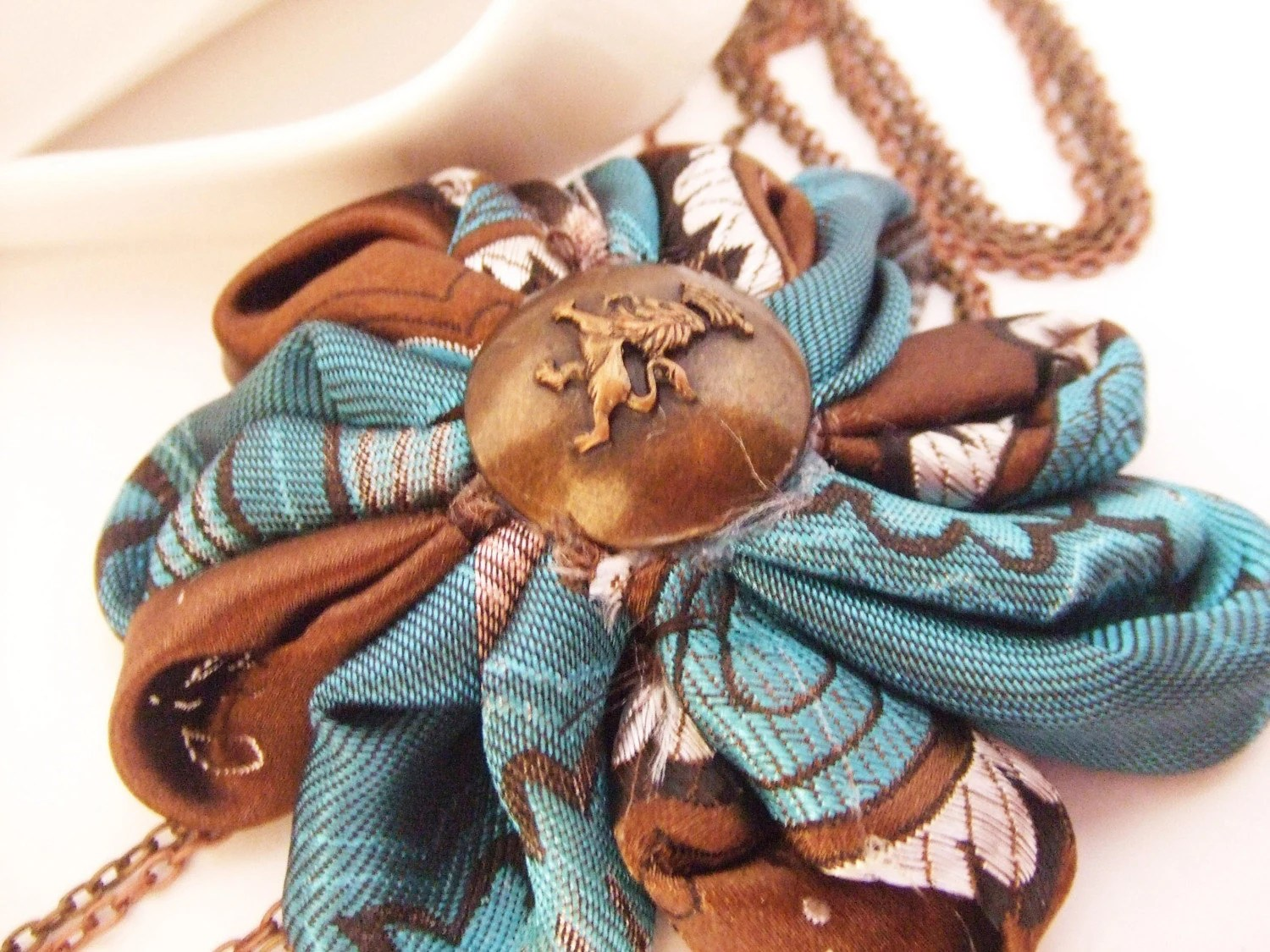 Brown Blue Flower Statement Necklace