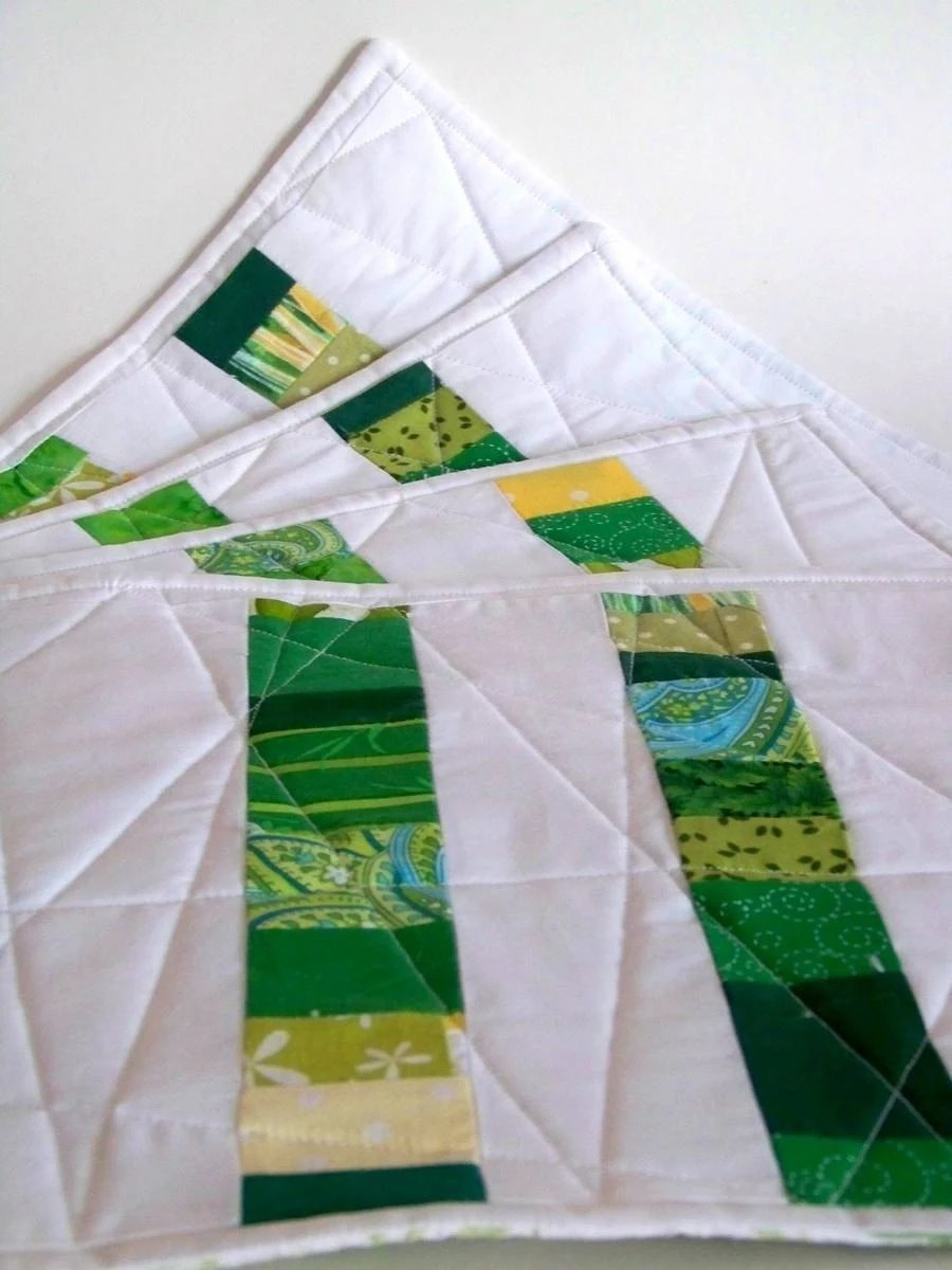 set of four quilted placemats - green and white