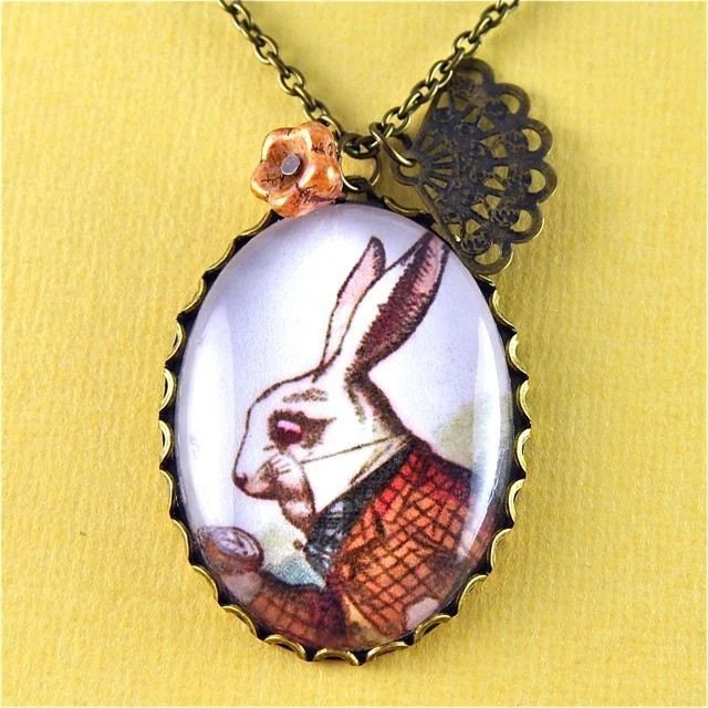 Alice in Wonderland jewellery, rabbit jewellery, I'm late