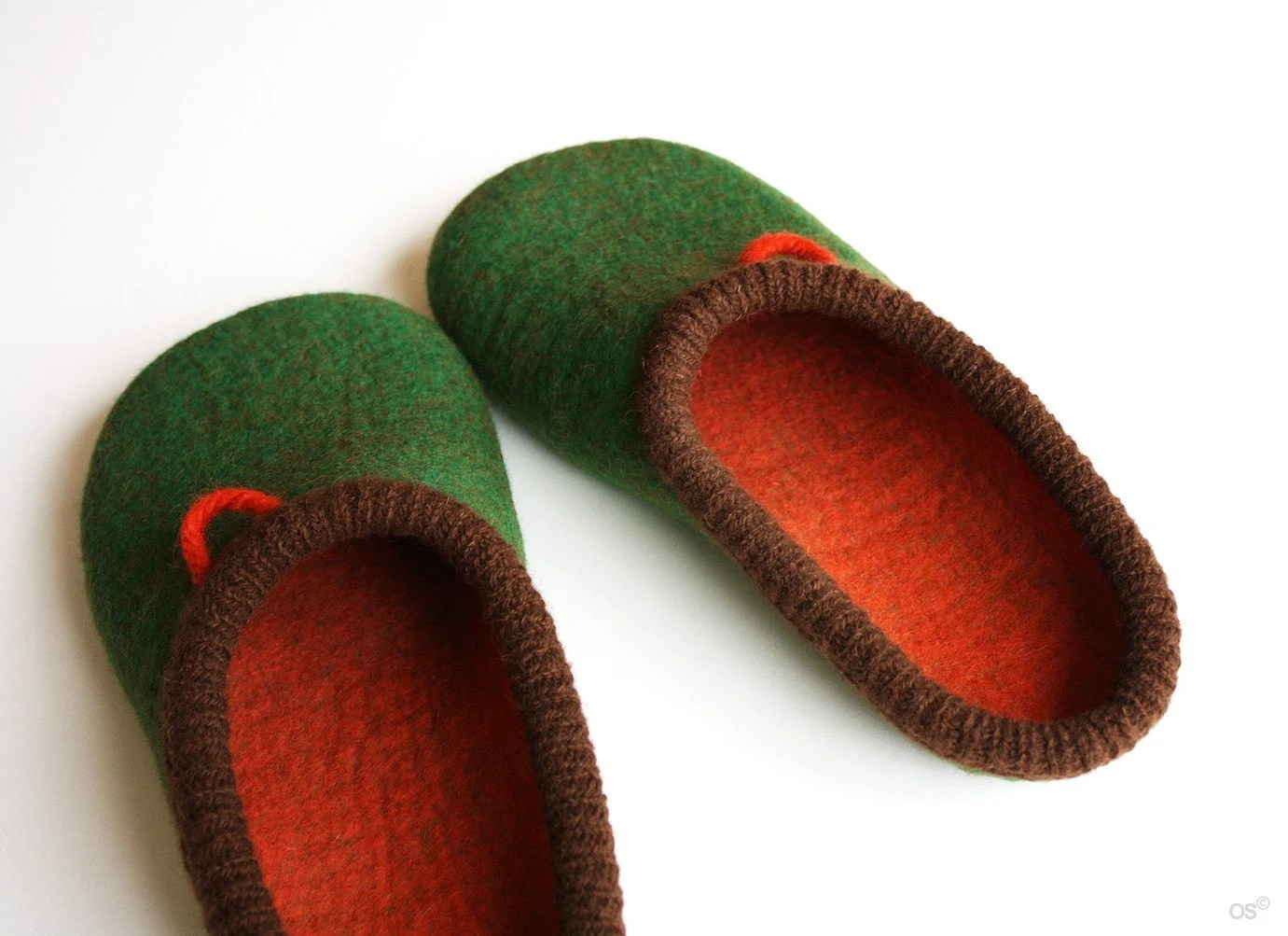 Green Daddy men's felted slippers by onstail