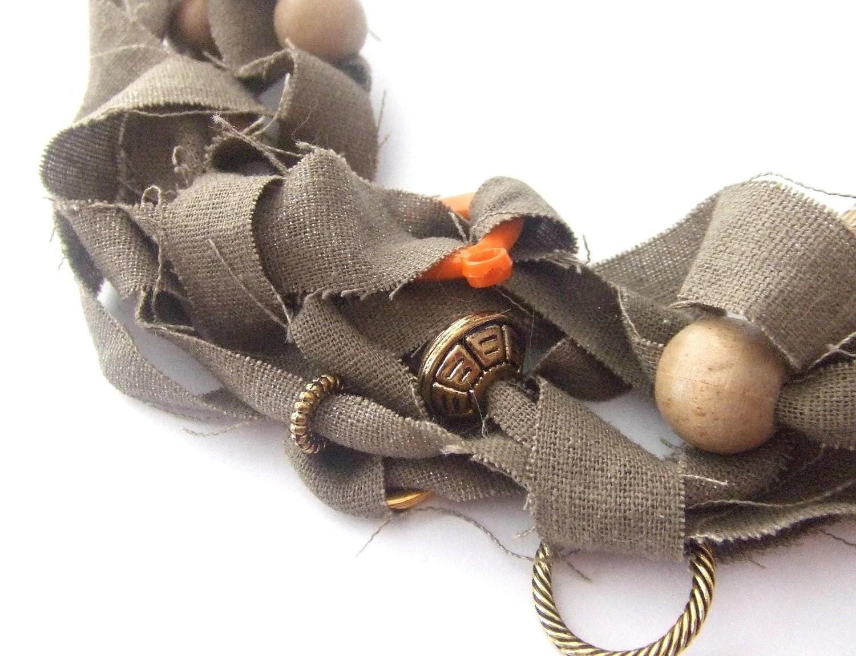 Safari Taupe Linen Fabric Necklace