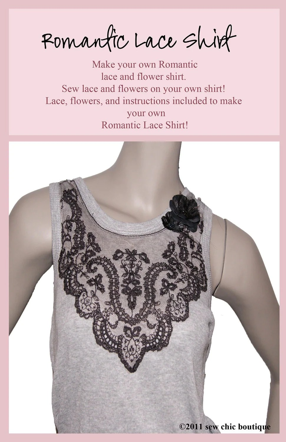 Make it Yourself- DIY- Romantic Shirt Kit- with tutorial- black