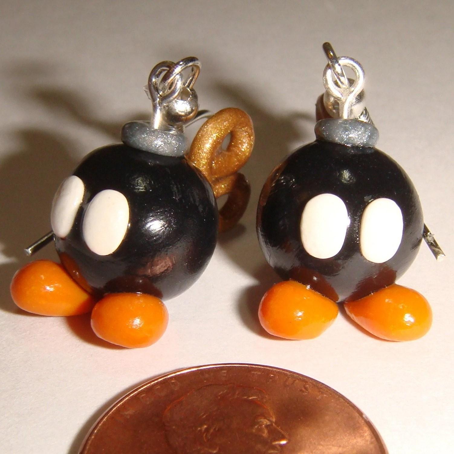 Super Mario Brothers Bob-omb bomb Earrings