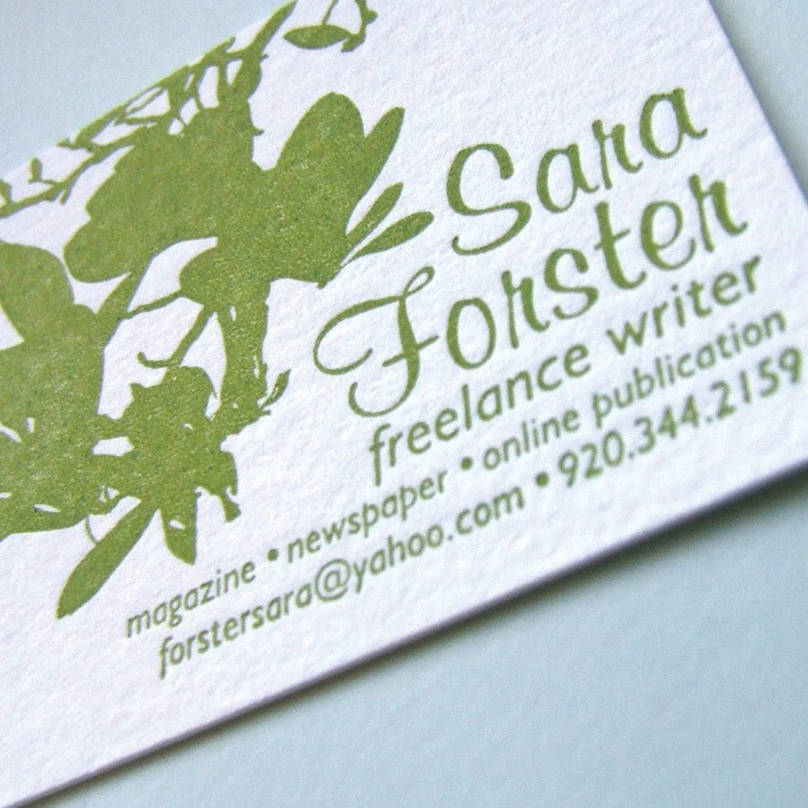Sara Forster is another freelance writer and former coworker who wanted simple, pretty, nature-inspired cards.