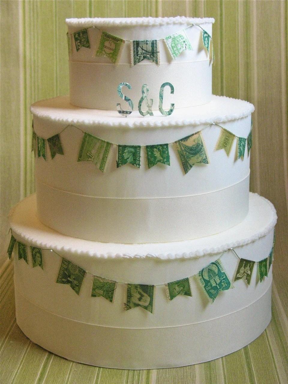 Vintage Stamp Wedding Cake Garland