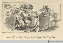 """""""He calls on Dr. Shepard and signs the register."""" In Shepard, The Turkish Bath, 1873."""