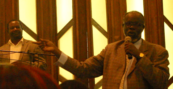 Gen Khamis Abdel-Latif speaking to South Sudanese and friends at Safari Park Hotel on January 16, 2015 in Nairobi, Kenya, where he declared his defection to SPLM/SPLA[IO](Photo credits: Nyamilepedia)