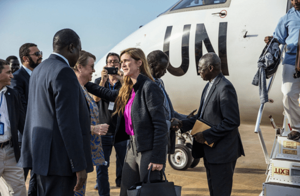 US former ambassador to the United Nations, Amb. Samantha Power, leading a UNSC delegation to South Sudan last year, 2016(Photo: file)