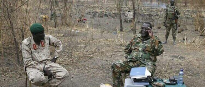 Gen. Peter Gatdet Yak and Dr. Riek Machar Teny in the bushes of South Sudan's Jonglei state in 2013-14(Photo: file)