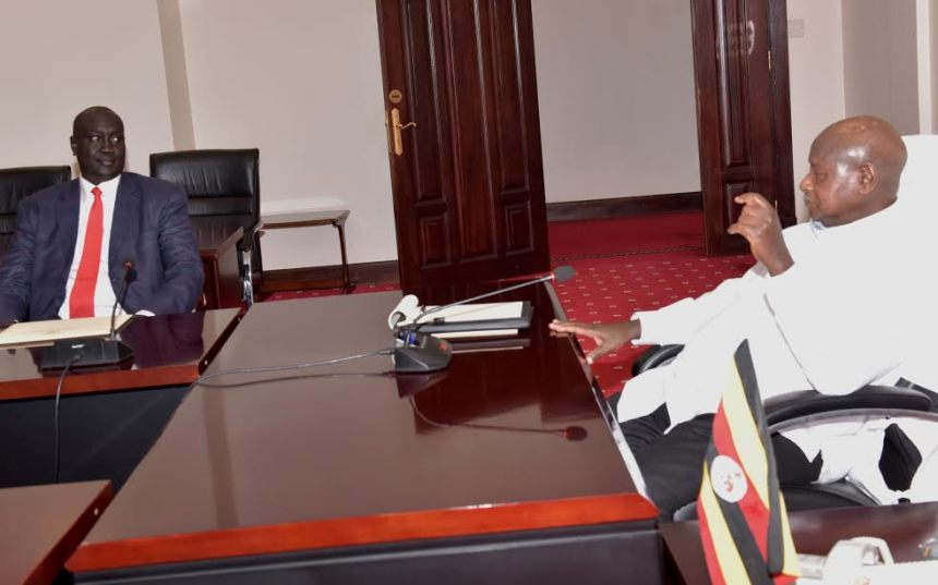 Mayiik Ayii Deng, the Minister for President Salva Kiir, deliverong a message to Ugandan President at his State House in Entebbe(Photo: file)