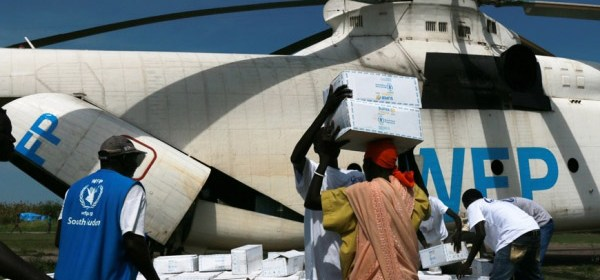 A WFP-operated helicopter in South Sudan (Photo: WFP/George Fominyen)