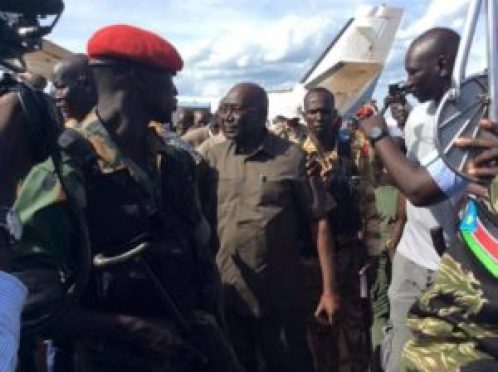 Malong Awan, former army chief landed at Juba airport from Yirol after escaping Juba (Photo/supplied)