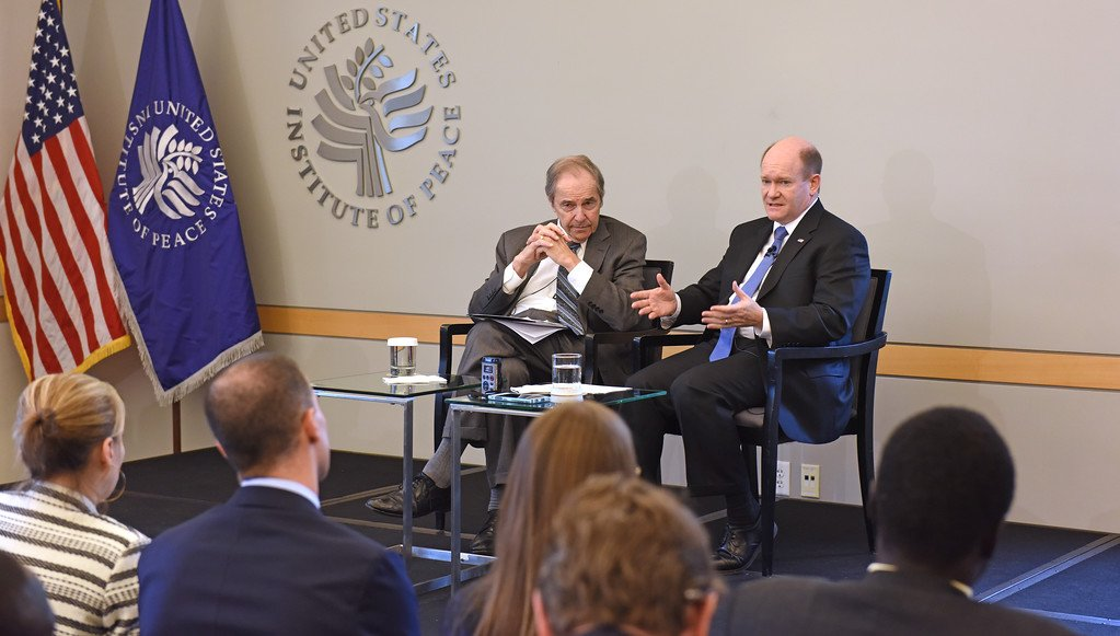 PRINCETON LYMAN, a former United States special envoy for Sudan and South Sudan, and Chris Coons briefed the Council on Foreign Relations Committee in May on South Sudan Conflict and famine(Photo: Susan Stigant)