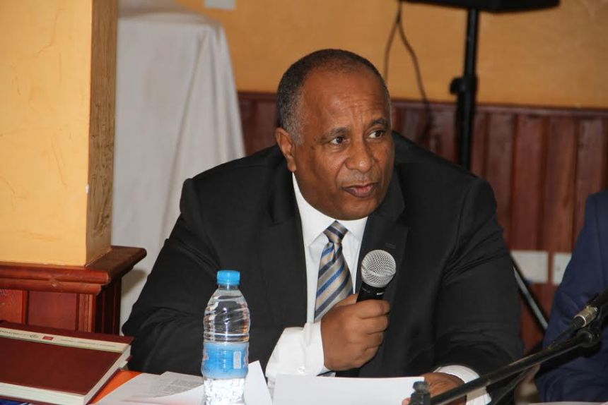 """JMEC Chief of Staff Amb. Berhanu Kebede, seeking support from media houses to sell an """"inclusive and popular ownership of the ARCSS""""(photo: JMEC)"""