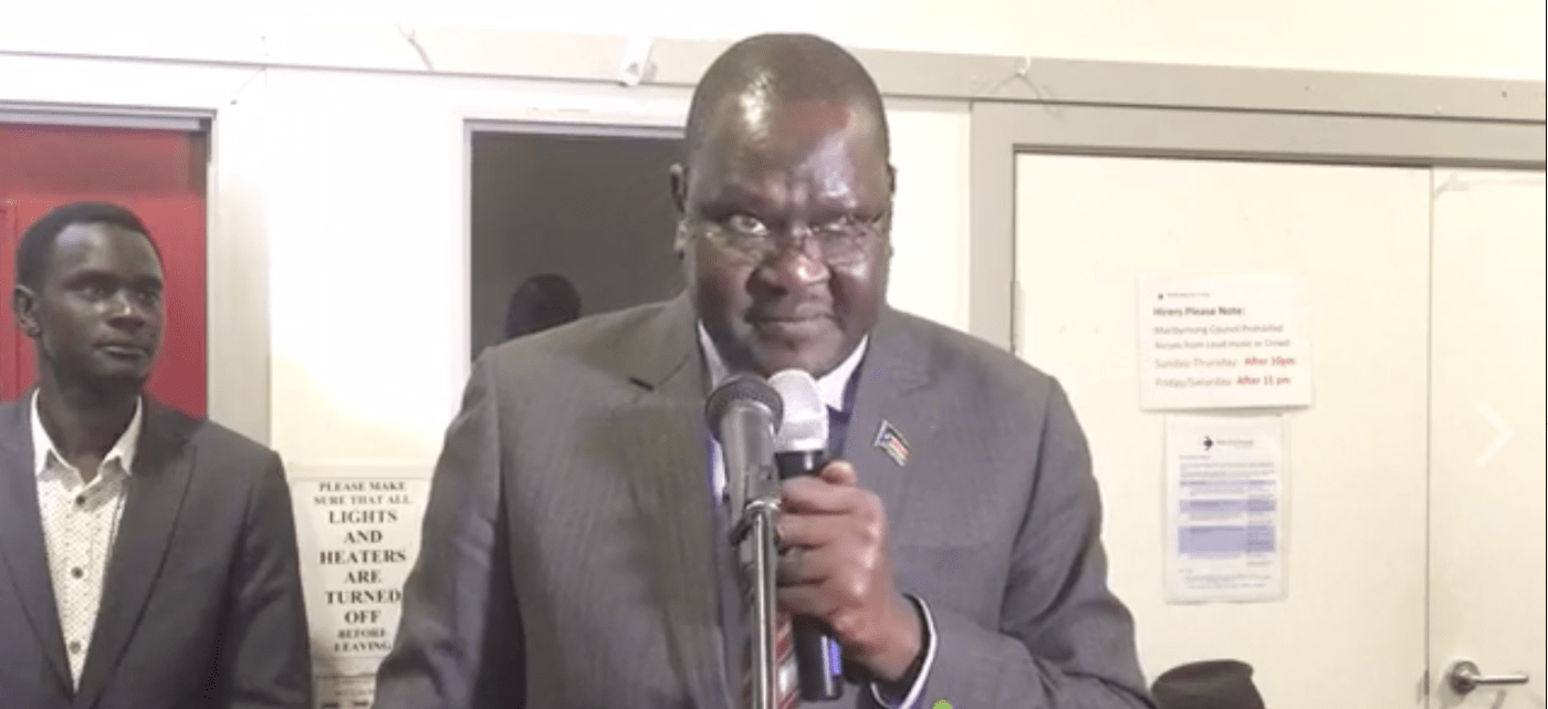 Ateny Wek Ateny, the Spokesman of President Kiir, speaks in Australia(Photo: file)