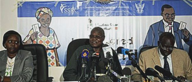 Chan Reec Madut, center, speaks during a press conference in Juba(Photo: file)