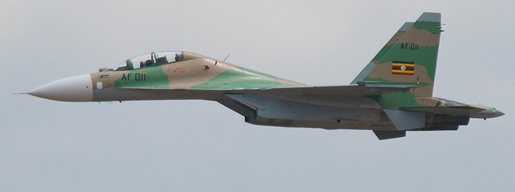 One of Ugandan jet fighters, SU 30MK2, flying over South Sudan, accused of bombing rebels held areas(Photo: file)