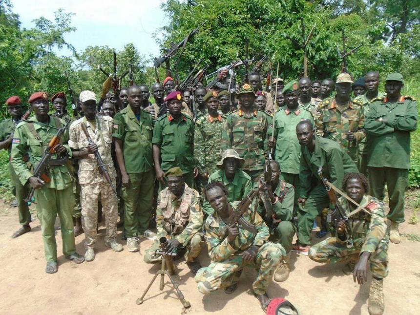 Sector 2-B overall Commander, Gen. Mabieh Gaar and military governor of Yei River State, Maj. Gen. Matata giving a joint statement in Yei River state on Sunday morning following defection of Gen. Kenyi who declared allegiance to Thomas Cirillo party(Photo: file)