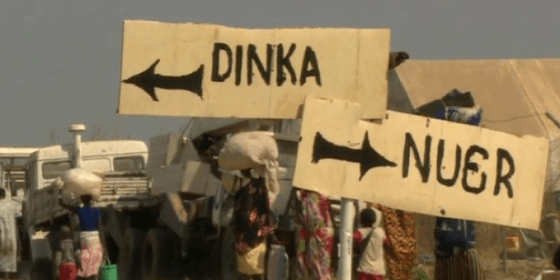 Nuer-Dinka sign in the UN camp in SouthSudan, which The Washington Post debates here, is also explained here by the UN: The United Nations has defended the decision to erect the sign as necessary for security and at the request of those seeking help