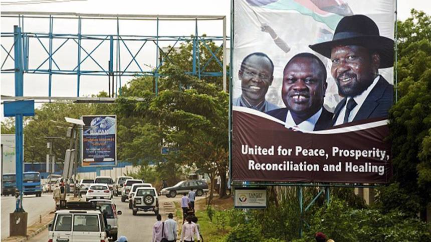 A banner image of Salva Kiir, Riek Machar Teny and Wanni Igga shortly before Machar returns to Juba in April 2016(Photo: file)