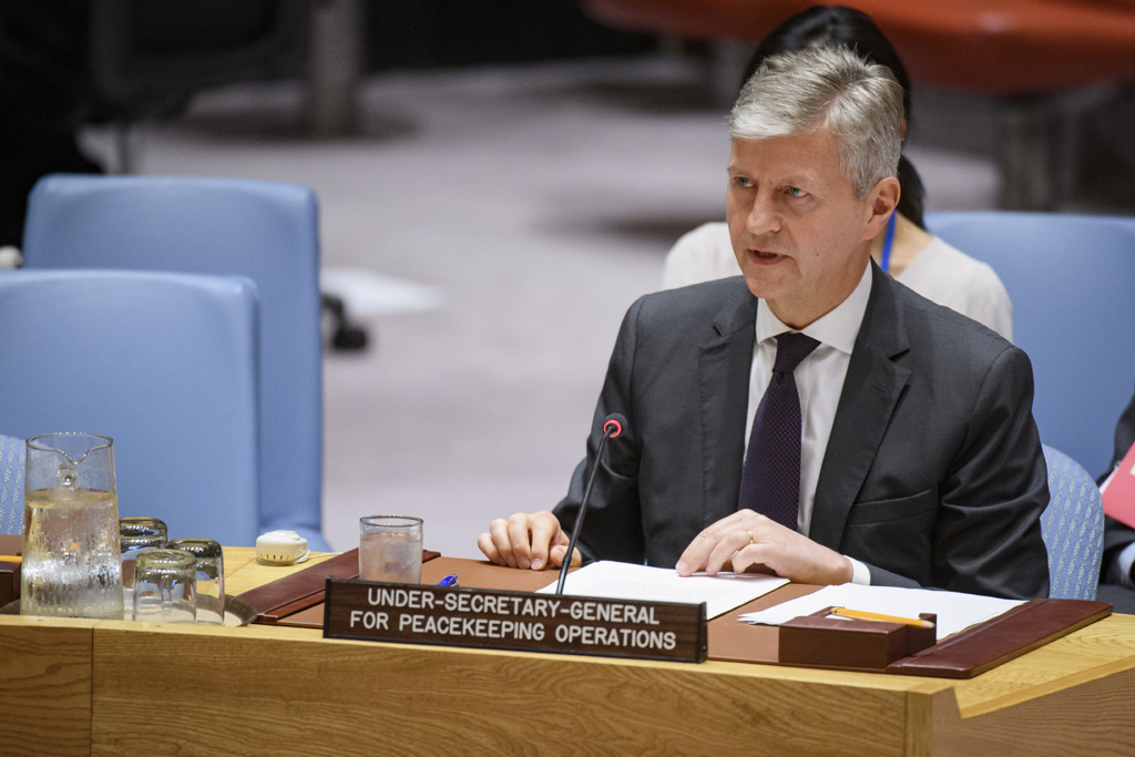 Jean-Pierre Lacroix, Under-Secretary-General for Peacekeeping Operations, briefs the Security Council on the situation in South Sudan. (Photo: UN/Manuel Elias)