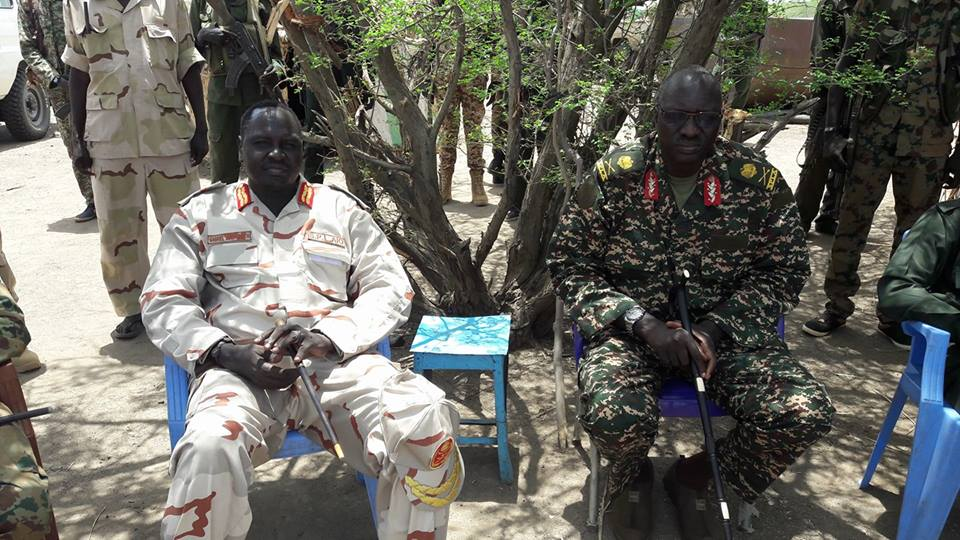 Maj. Gen. Johnson Kuol Gai, the current governor of Phow State addressed a meeting with the former Governor of Phow State and the current Deputy Chief of Staff for Operation, Lt. Gen. Gabriel Duop Lam during their recent tour of SPLA-IO controlled areas in Upper Nile(Photo: file)