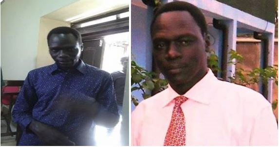 James Gatdet Dak, Press Secretary of South Sudan's First Vice President, Dr. Riek Machar Teny, under Salva Kiir's detention chamber in the national capital in the left photo and before he got arrested(Photo: file)