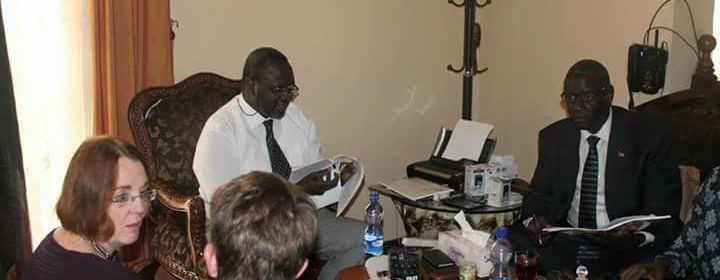 Dr. Riek Machar Teny, chairman and C-in-C of the SPLM/A(IO) with his deputy. Henry Odwar, in meeting with former US Ambassador to South Sudan(Photo: file)