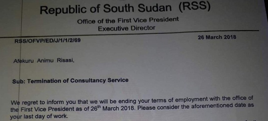 Letter signed by Elijah Tut Bikot, executive director in Taban Deng's office(File photo)