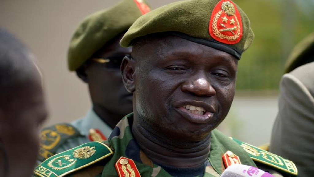 South Sudan's army chief General James Ajongo speaking to the media after his swearing-in at the Presidential Palace in the capital Juba, South Sudan May 10, 2017. REUTERS/Jok Solomun
