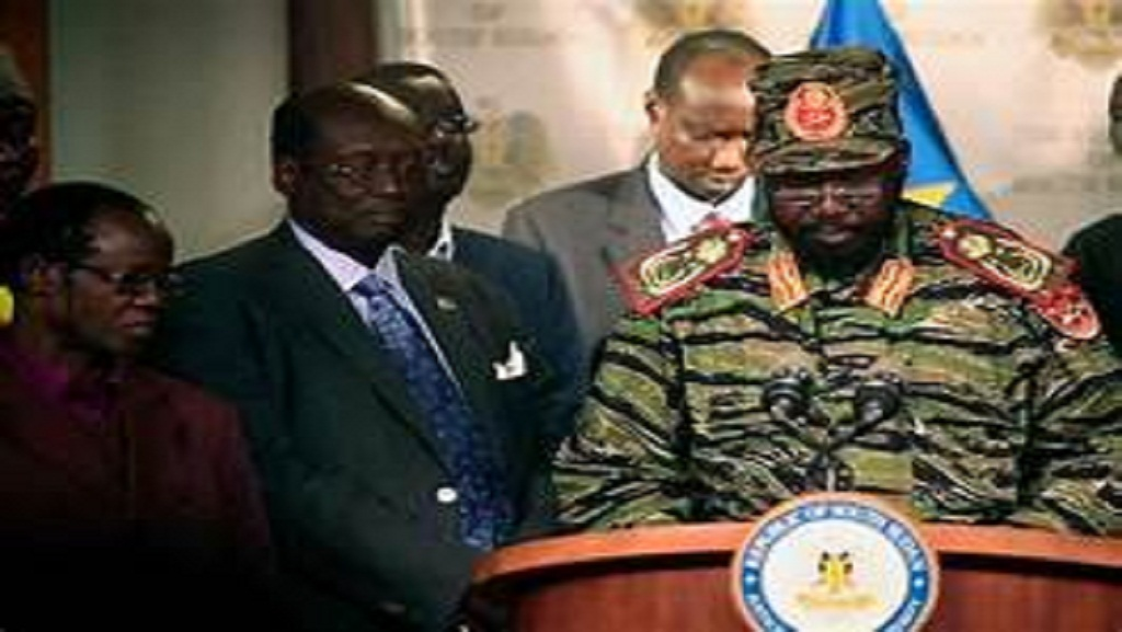 "South Sudanese president hold press conference as he announces ""coup attempt""  by his former deputy Riek Machar (Photo: Credit Hakim George/Reuters"