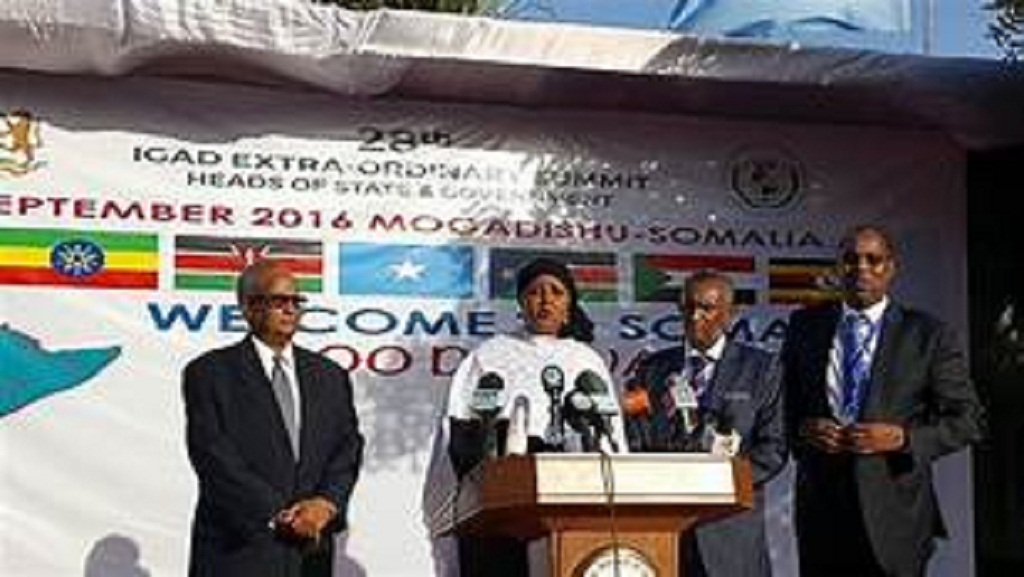 IGAD ministers speaking to the media shortly after the 28th Extraordinary summit in Mogadishu, Somalia  13th September 2016 (File photo)