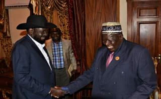 South Sudan President Salva Kiir Mayardiit greets Uganda's Deputy Prime Minister, General Moses Ali (Presidential Press Unit)