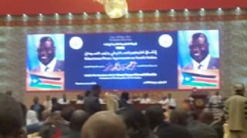 A look of a hall in Khartoum where Machar was addressing the South Sudanese diaporas (File photo)