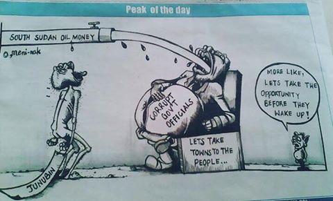 South Sudan corruption cartoon illustrated (File photo)