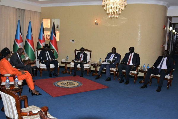 South Sudan's President, Salva Kiir, FVP, Taban Deng Gai and VP Igga, being briefed on the peace process in Khartoum (File photo)