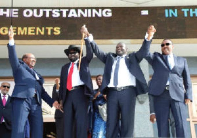 Sudanese President Omar Al Bashir (L) South Sudanese President Salva Kiir (S-L), SPLM-IO leader Dr. Riek Machgar Teny-Dhurgon (S-R) and Representative of the Ethiopian Prime Minister waving to the South Sudanese people out side Qa'aa Al-Sadaka in Khartoum on August 5th 2018 (File photo)