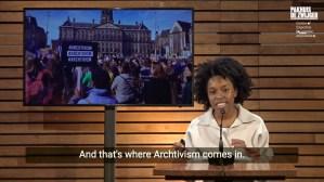 Nyasha Harper-Michon giving talk on Archtivism at Pakhuis de Zwijger