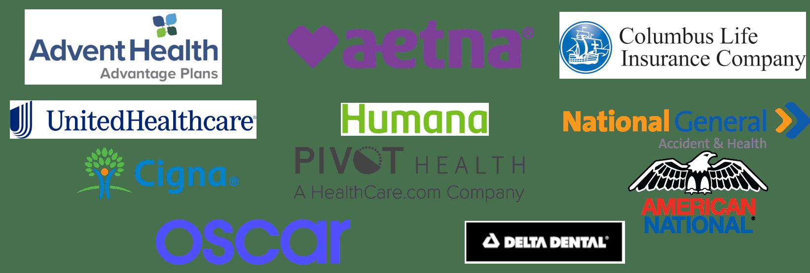 Health Insurance logos for advent health, aetna, columbus life, united health care, humana, national general, pivot health, cigna, oscar, american national and delta dental