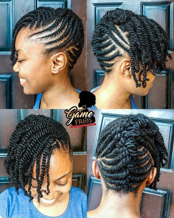 coiffures chignon en twists