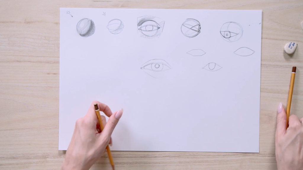 How to draw eyes with a pencil Phased - Stage 7 - Photo
