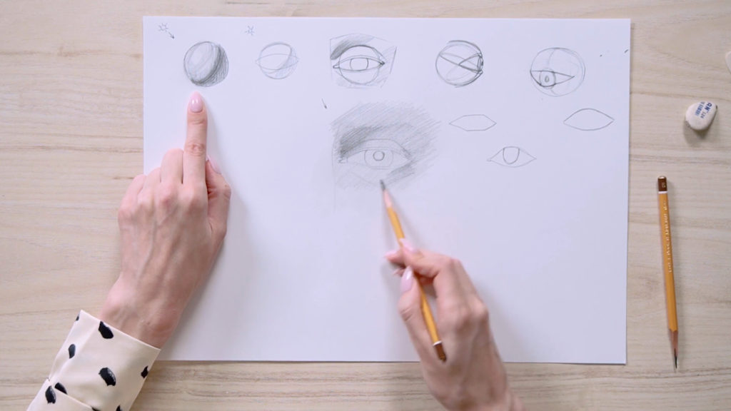 How to draw eyes with a pencil Phaood - Stage 9 - Photo